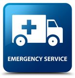 Emergency service blue square button. Emergency service isolated on blue square button abstract illustration Stock Photography
