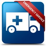 Emergency service blue square button red ribbon in corner. Emergency service isolated on blue square button with red ribbon in corner abstract illustration Stock Photo