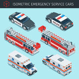 Emergency service cars. Isometric emergency service cars with front and rear views. 3d vector transport icons set. Highly detailed vector illustration Stock Photos