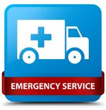 Emergency service cyan blue square button red ribbon in middle. Emergency service isolated on cyan blue square button with red ribbon in middle abstract Stock Image