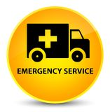 Emergency service elegant yellow round button. Emergency service isolated on elegant yellow round button abstract illustration Stock Image