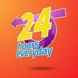 Emergency service everyday. 24 hours service. 24 hours emergency everyday. 24 hours emergency service. Vector illustration Stock Photography