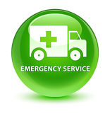 Emergency service glassy green round button Stock Images
