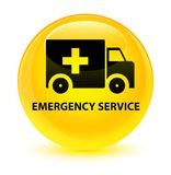 Emergency service glassy yellow round button. Emergency service isolated on glassy yellow round button abstract illustration Stock Photo