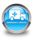 Emergency service glossy cyan blue round button. Emergency service isolated on glossy cyan blue round button abstract illustration Stock Images