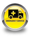 Emergency service glossy yellow round button. Emergency service isolated on glossy yellow round button abstract illustration Stock Photos