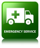 Emergency service green square button. Emergency service isolated on green square button reflected abstract illustration Royalty Free Stock Photos