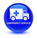 Emergency service glassy blue round button. Emergency service isolated on glassy blue round button abstract illustration Royalty Free Stock Images