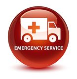 Emergency service glassy brown round button. Emergency service isolated on glassy brown round button abstract illustration Stock Photography