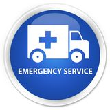 Emergency service premium blue round button. Emergency service isolated on premium blue round button abstract illustration Royalty Free Stock Image