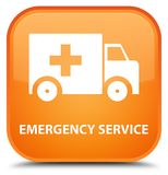 Emergency service special orange square button. Emergency service isolated on special orange square button abstract illustration Royalty Free Stock Photography