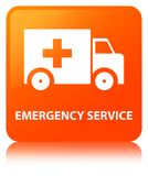Emergency service orange square button. Emergency service isolated on orange square button reflected abstract illustration Royalty Free Stock Photography