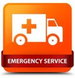 Emergency service orange square button red ribbon in middle. Emergency service isolated on orange square button with red ribbon in middle abstract illustration Stock Image