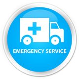 Emergency service premium cyan blue round button. Emergency service isolated on premium cyan blue round button abstract illustration Royalty Free Stock Photography
