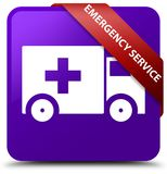 Emergency service purple square button red ribbon in corner. Emergency service isolated on purple square button with red ribbon in corner abstract illustration Royalty Free Stock Photography
