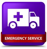 Emergency service purple square button red ribbon in middle. Emergency service isolated on purple square button with red ribbon in middle abstract illustration Stock Images
