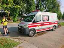 Emergency service Singapore Ambulance Van stock images