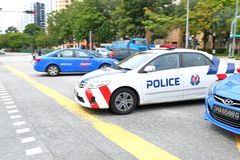 Emergency service Singapore Police Stock Image