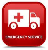 Emergency service special red square button. Emergency service isolated on special red square button abstract illustration Royalty Free Stock Photos