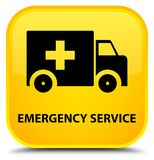 Emergency service special yellow square button. Emergency service isolated on special yellow square button abstract illustration Stock Photos