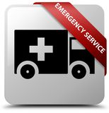Emergency service white square button red ribbon in corner. Emergency service isolated on white square button with red ribbon in corner abstract illustration Royalty Free Stock Image