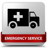 Emergency service white square button red ribbon in middle. Emergency service isolated on white square button with red ribbon in middle abstract illustration Royalty Free Stock Photography