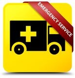 Emergency service yellow square button red ribbon in corner. Emergency service isolated on yellow square button with red ribbon in corner abstract illustration Stock Image