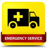 Emergency service yellow square button red ribbon in middle. Emergency service isolated on yellow square button with red ribbon in middle abstract illustration Royalty Free Stock Images