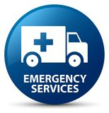 Emergency services blue round button. Emergency services isolated on blue round button abstract illustration Stock Photos