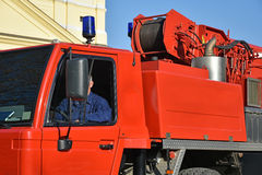 Emergency services crane vehicle Stock Photography