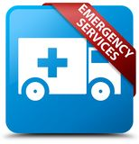 Emergency services cyan blue square button red ribbon in corner. Emergency services isolated on cyan blue square button with red ribbon in corner abstract Stock Photo