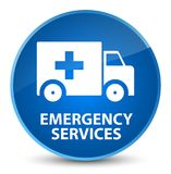 Emergency services elegant blue round button. Emergency services isolated on elegant blue round button abstract illustration Royalty Free Stock Photos
