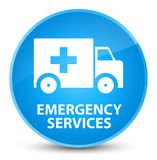 Emergency services elegant cyan blue round button. Emergency services isolated on elegant cyan blue round button abstract illustration Royalty Free Stock Photos