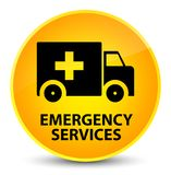 Emergency services elegant yellow round button. Emergency services isolated on elegant yellow round button abstract illustration Royalty Free Stock Photography
