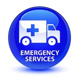Emergency services glassy blue round button. Emergency services isolated on glassy blue round button abstract illustration Royalty Free Stock Photo