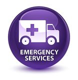 Emergency services glassy purple round button. Emergency services isolated on glassy purple round button abstract illustration Royalty Free Stock Images
