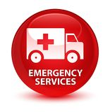 Emergency services glassy red round button. Emergency services isolated on glassy red round button abstract illustration Royalty Free Stock Image