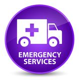 Emergency services elegant purple round button. Emergency services isolated on elegant purple round button abstract illustration Royalty Free Stock Image