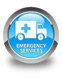 Emergency services glossy cyan blue round button. Emergency services isolated on glossy cyan blue round button abstract illustration Royalty Free Stock Photography
