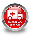 Emergency services glossy red round button. Emergency services isolated on glossy red round button abstract illustration Royalty Free Stock Image