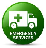 Emergency services green round button. Emergency services isolated on green round button abstract illustration Stock Photo