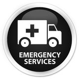 Emergency services premium black round button. Emergency services isolated on premium black round button abstract illustration Royalty Free Stock Photo
