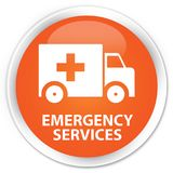 Emergency services premium orange round button. Emergency services isolated on premium orange round button abstract illustration Royalty Free Stock Images