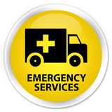 Emergency services premium yellow round button. Emergency services isolated on premium yellow round button abstract illustration Stock Photography