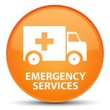 Emergency services special orange round button. Emergency services isolated on special orange round button abstract illustration Stock Photos