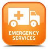 Emergency services special orange square button. Emergency services isolated on special orange square button abstract illustration Stock Images