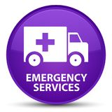 Emergency services special purple round button. Emergency services isolated on special purple round button abstract illustration Stock Photo