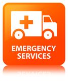 Emergency services orange square button. Emergency services isolated on orange square button reflected abstract illustration Stock Photos