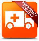 Emergency services orange square button red ribbon in corner. Emergency services isolated on orange square button with red ribbon in corner abstract illustration Stock Photo