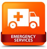Emergency services orange square button red ribbon in middle. Emergency services isolated on orange square button with red ribbon in middle abstract illustration Royalty Free Stock Images